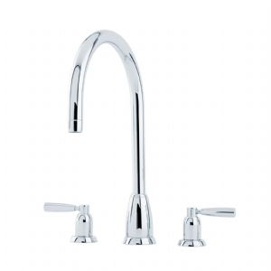 4886 Perrin & Rowe Callisto Three Hole Sink Mixer Tap C Spout with Lever Handles